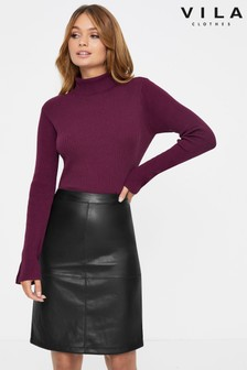 Vila PU Pencil Skirt