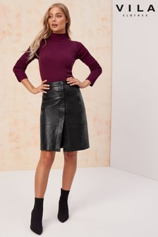 Vila High Waist Leather Skirt