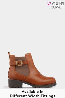 Yours Extra Wide Fit Elastic Strap And Buckle Ankle Boot