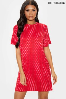 PrettyLittleThing Polka Dot T-Shirt Dress