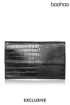 Boohoo Faux Croc Envelope Clutch Bag