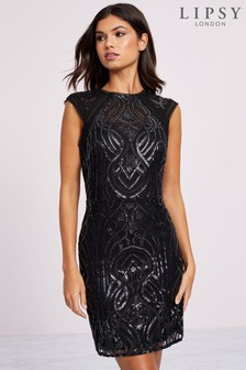 Lipsy Sequin Embroided A line Midi Dress