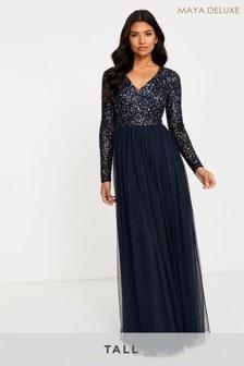 Maya Tall Long Sleeve Sequin Maxi Dress