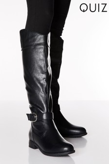 Quiz Faux Leather Western Detail Knee High Boots