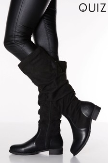 Quiz Faux Leather & Faux Suede Mix Ruched Flat Knee High Boots