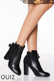 Quiz Faux Suede Leather Bow Side Block Heel Ankle Boots
