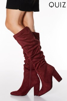 Quiz Faux Suede Ruched Pointed-Toe Block Heel Knee High Boots