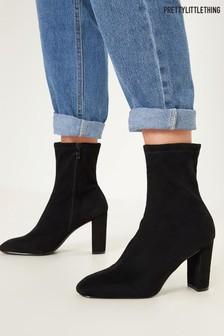 PrettyLittleThing Block Heel Sock Boots
