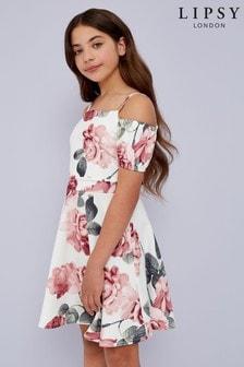 Lipsy Girl Puff Sleeve Cold Shoulder Dress