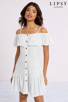 Lipsy Stripe Crinkle Button Sundress