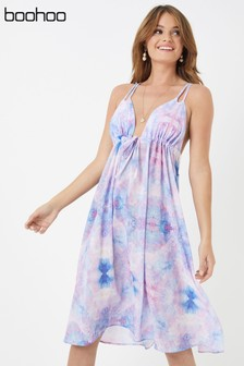 Boohoo Tie Dye Functional Tie Front Floaty Summer Dress