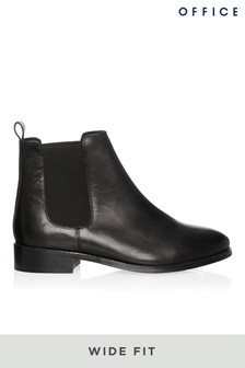 Office Wide Fit Leather Ankle Boots