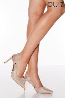 Quiz Shimmer Slingback Court Shoes