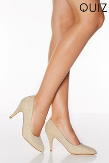 Quiz Shimmer Almond Toe Court Shoes
