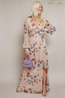 Little Mistress Mindy Floral Print Lurex Maxi Dress