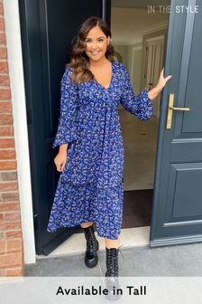 In The Style Jac Jossa Floral Print Tiered Long Sleeve Maxi Dress