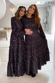 In The Style Stacey Solomon Ditsy Floral Print Tiered Maxi Dress With Balloon Sleeves