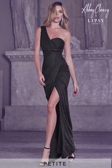 Abbey Clancy x Lipsy Petite One Shoulder Glitter Ruched Maxi