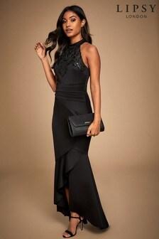 Lipsy Halter Cornelli Sequin Maxi Dress