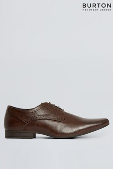 Burton Leather Look Brogue Detail Derby Shoe