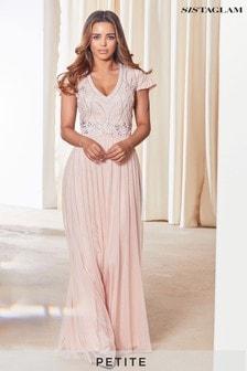 Sistaglam Embellished V Neck Maxi Dress
