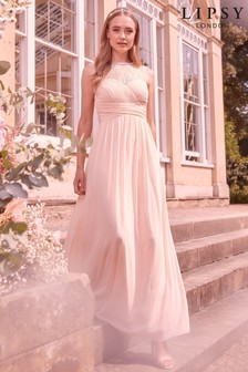 Lipsy Elsa Lace Sleeveless Mesh Maxi Bridesmaid Dress