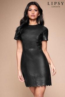 Lipsy Faux Leather Lazer Cut Dress