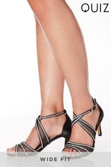 Quiz Wide Fit Satin Diamanté Mesh Low Heel Sandal