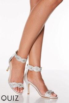 Quiz Shimmer Diamanté Twist Two Part Mid Heel Satin Sandal