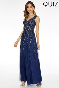 Quiz Embellished V neck Sleeveless Maxi Dress