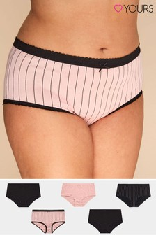Yours Curve Stripe Full Brief - Pack Of 5