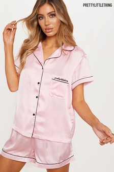 PrettyLittleThing Short Sleeve Satin PJ Set