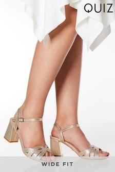 Quiz Wide Fit Shimmer Diamanté Swirl Strap Low Heel Sandal