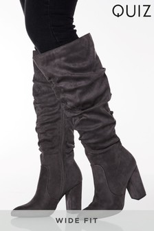 Quiz Wide Fit Ruched Faux Suede Block Heel Knee High Pointed Toe Boot