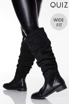 Quiz Wide Fit Ruched Knee High Flat Boots
