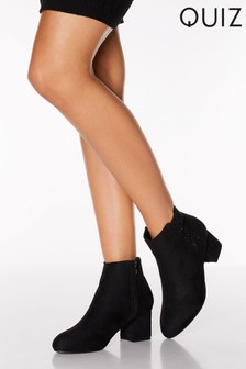 Quiz Diamanté Low Block Heel Ankle Boots