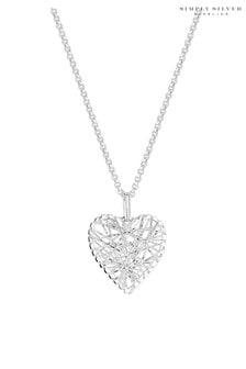 Simply Silver 925 Diamond Cut Mesh Wrap Heart Necklace
