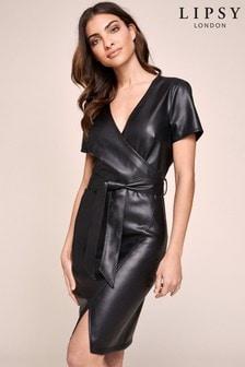 Lipsy Wrap Faux Leather Dress