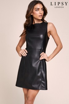 Lipsy Crew Neck Faux Leather Dress