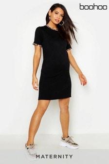 Boohoo Maternity Leopard Ringer T-shirt Dress