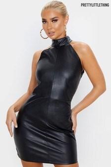 PrettyLittleThing PU High Neck Sleeveless Dress