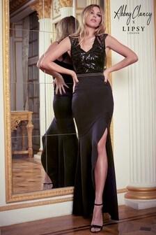 Abbey Clancy x Lipsy Sequin Lace Sleeve Artwork Trim Maxi Dress