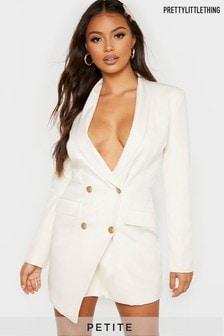 PrettyLittleThing Petite Button Woven Blazer Dress