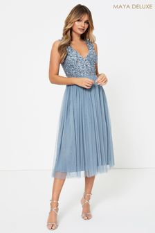 Maya V Neck Sleevless Sequin Midi Dress
