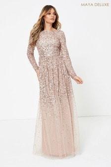 Maya Heavily Embellished Long Sleeve Maxi Dress