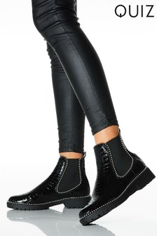 Quiz Black Croc Stud Trim Boots