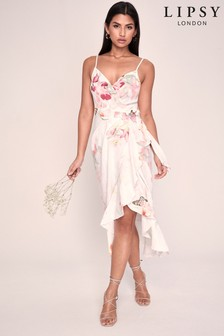 Lipsy Printed Linen Wrap Midi Dress