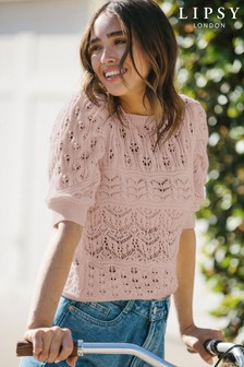 Lipsy Cotton Pointelle Puff Sleeve Knitted Jumper
