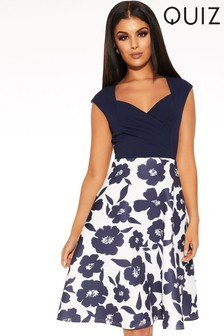 Quiz Floral Sweetheart Neck Skater Dress