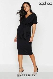 Boohoo Maternity Wrap Tie Waist Bodycon Dress